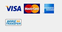 Accepted Payment Methods - Credit cards, Wiretransfer