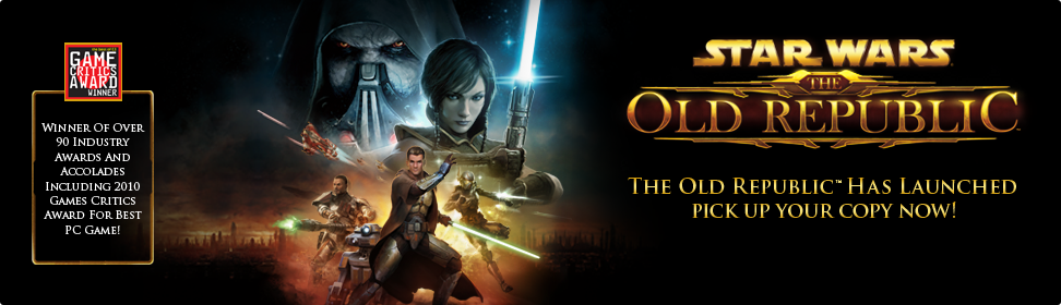 Star Wars™ The Old Republic™, winner of over 90 industry awards and accolades including 2010 Games Critics Award for best PC game! Become a founding member!