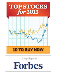 Forbes Top Stocks for 2013...10 to Buy Now Cover