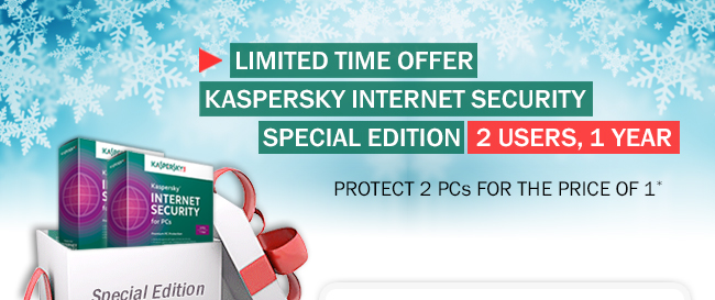 Limited time offer, Kaspersky Internet Security Special Edition 2 users, 1 year