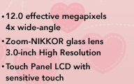 * 12.0 effective megapixels * 4x wide-angle Zoom-NIKKOR glass lens * 3.0-inch High Resolution * Touch Panel LCD with sensitive touch