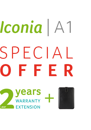 Iconia | A1 + 2Year Warranty Extension + Protective Pocket