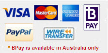 Accepted Payment Methods - Credit cards and paypal