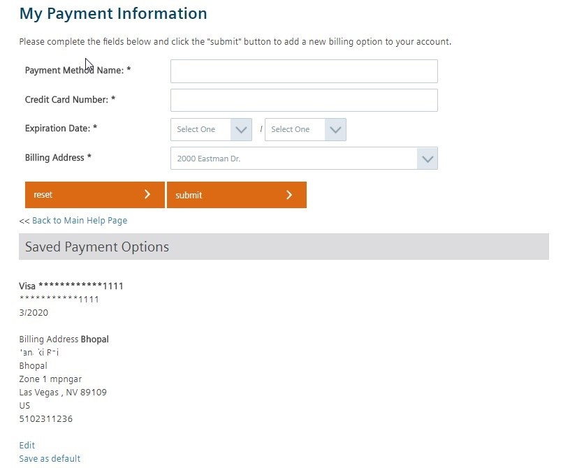 My Payment Information